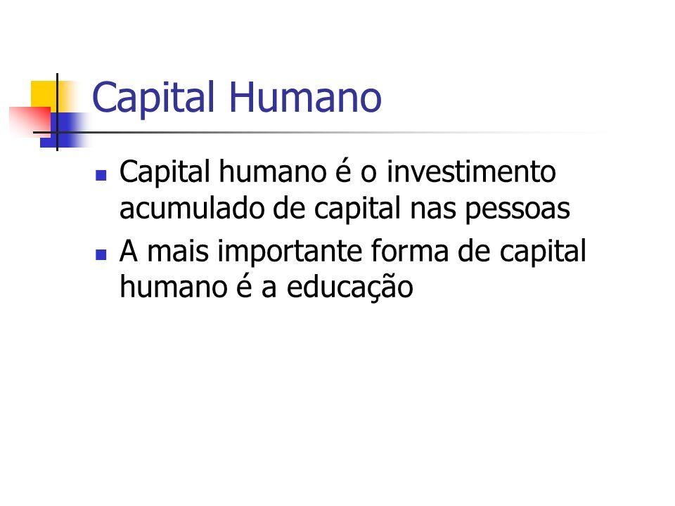 Capital Humano Capital humano é o investimento acumulado de capital nas pessoas A mais importante forma de capital humano é a educação