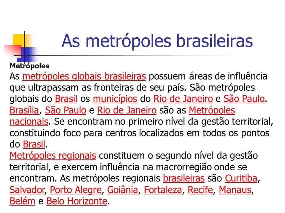 As metrópoles brasileiras Metrópoles As metrópoles globais brasileiras possuem áreas de influência que ultrapassam as fronteiras de seu país. São metr