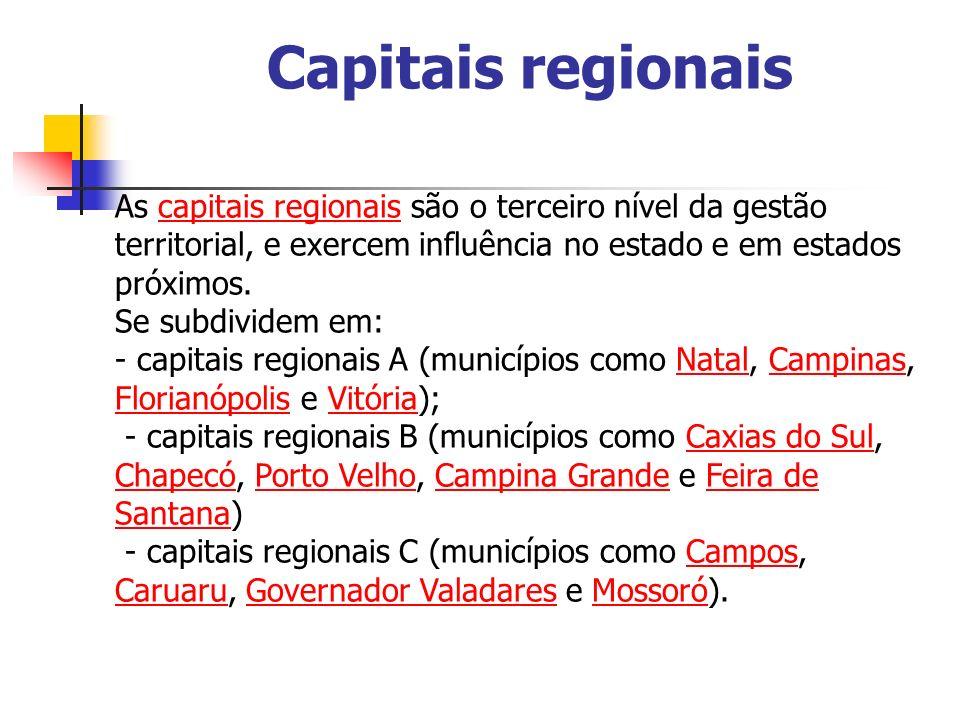 Capitais regionais As capitais regionais são o terceiro nível da gestão territorial, e exercem influência no estado e em estados próximos.capitais reg