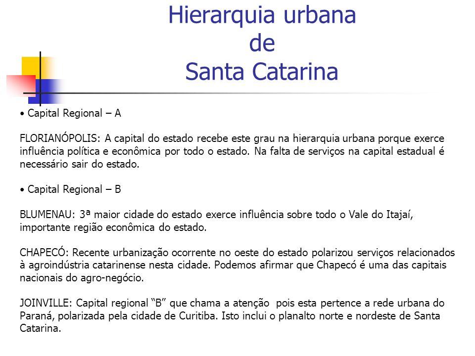 Hierarquia urbana de Santa Catarina Capital Regional – A FLORIANÓPOLIS: A capital do estado recebe este grau na hierarquia urbana porque exerce influê
