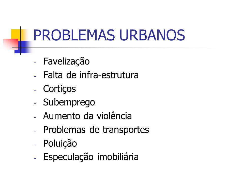 PROBLEMAS URBANOS - Favelização - Falta de infra-estrutura - Cortiços - Subemprego - Aumento da violência - Problemas de transportes - Poluição - Espe