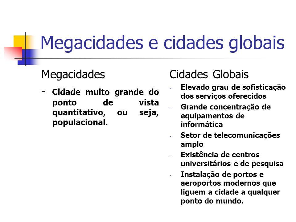 Megacidades e cidades globais Megacidades - Cidade muito grande do ponto de vista quantitativo, ou seja, populacional. Cidades Globais - Elevado grau