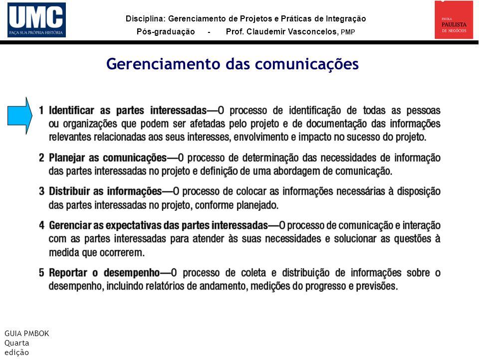 Disciplina: Gerenciamento de Projetos e Práticas de Integração Pós-graduação - Prof. Claudemir Vasconcelos, PMP Gerenciamento das comunicações GUIA PM