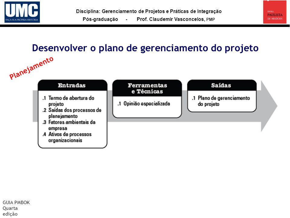 Disciplina: Gerenciamento de Projetos e Práticas de Integração Pós-graduação - Prof. Claudemir Vasconcelos, PMP Desenvolver o plano de gerenciamento d