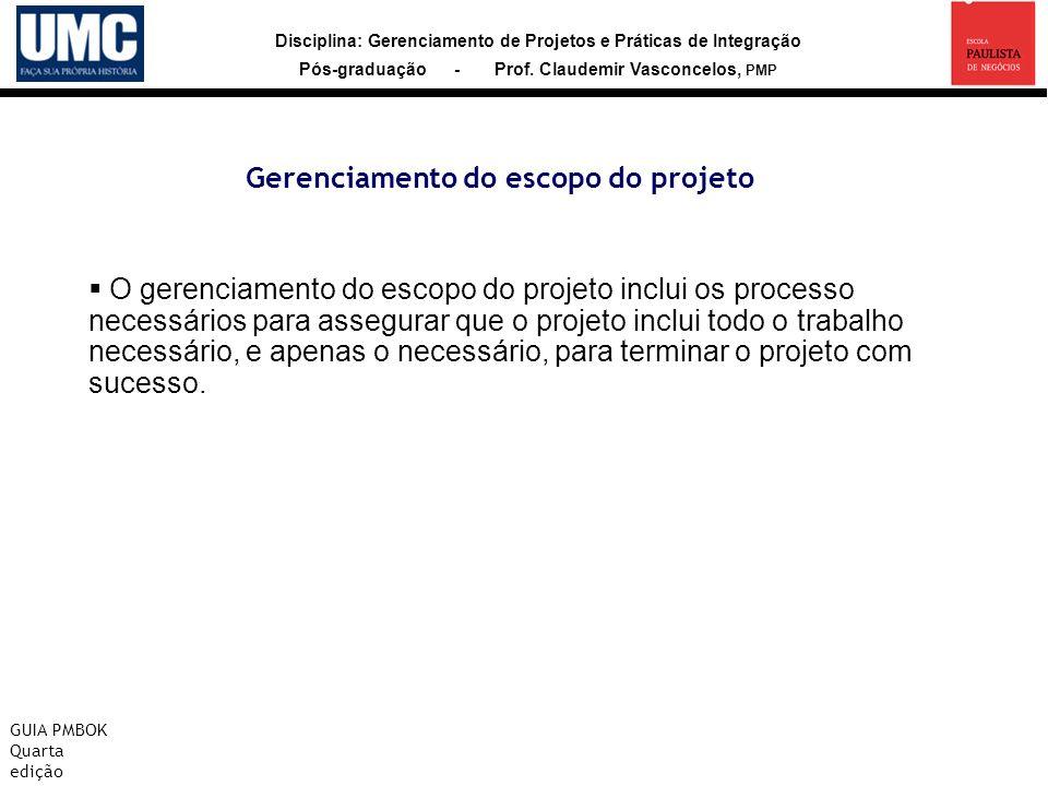 Disciplina: Gerenciamento de Projetos e Práticas de Integração Pós-graduação - Prof. Claudemir Vasconcelos, PMP Gerenciamento do escopo do projeto GUI