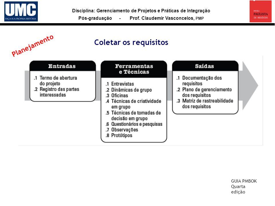 Disciplina: Gerenciamento de Projetos e Práticas de Integração Pós-graduação - Prof. Claudemir Vasconcelos, PMP Coletar os requisitos GUIA PMBOK Quart