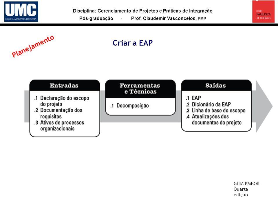 Disciplina: Gerenciamento de Projetos e Práticas de Integração Pós-graduação - Prof. Claudemir Vasconcelos, PMP Criar a EAP GUIA PMBOK Quarta edição P