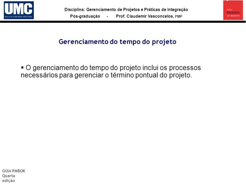 Disciplina: Gerenciamento de Projetos e Práticas de Integração Pós-graduação - Prof. Claudemir Vasconcelos, PMP Gerenciamento do tempo do projeto GUIA