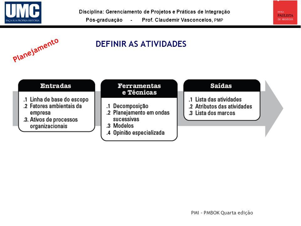 Disciplina: Gerenciamento de Projetos e Práticas de Integração Pós-graduação - Prof. Claudemir Vasconcelos, PMP DEFINIR AS ATIVIDADES PMI – PMBOK Quar