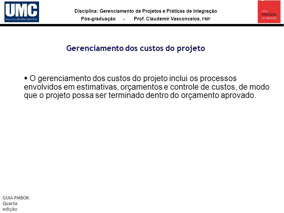 Disciplina: Gerenciamento de Projetos e Práticas de Integração Pós-graduação - Prof. Claudemir Vasconcelos, PMP Gerenciamento dos custos do projeto GU