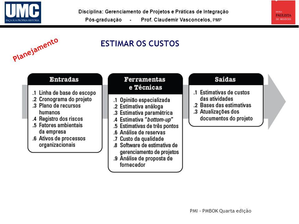Disciplina: Gerenciamento de Projetos e Práticas de Integração Pós-graduação - Prof. Claudemir Vasconcelos, PMP ESTIMAR OS CUSTOS PMI – PMBOK Quarta e