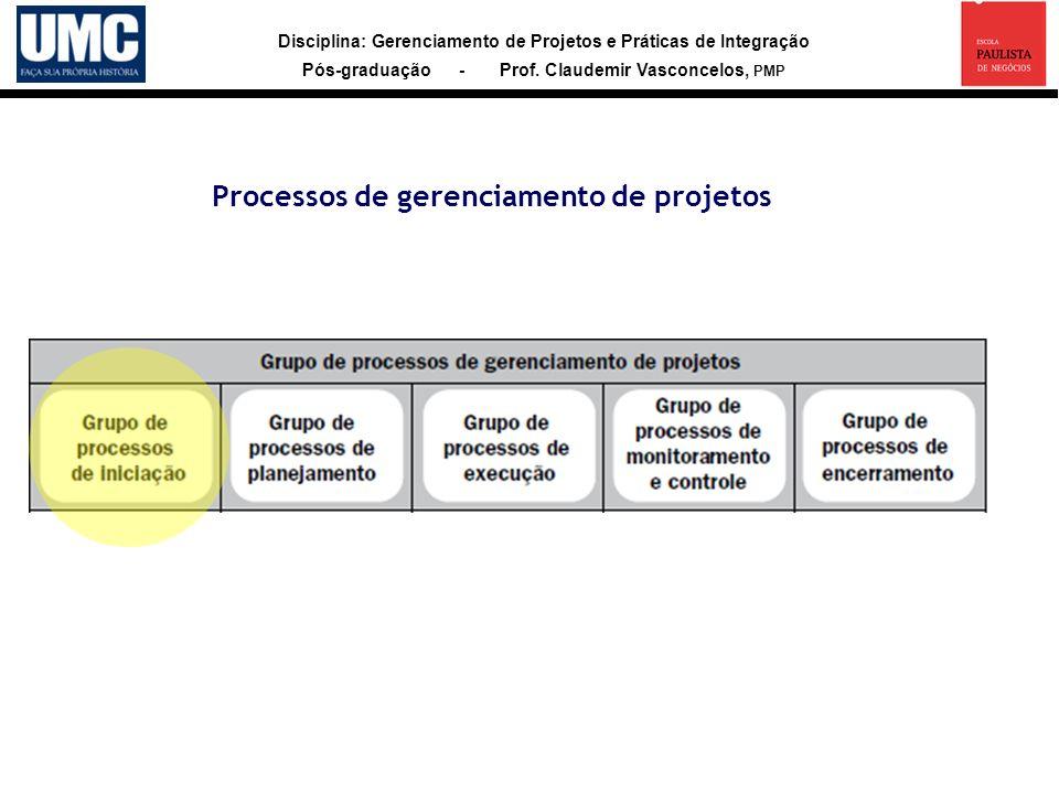 Disciplina: Gerenciamento de Projetos e Práticas de Integração Pós-graduação - Prof. Claudemir Vasconcelos, PMP Processos de gerenciamento de projetos