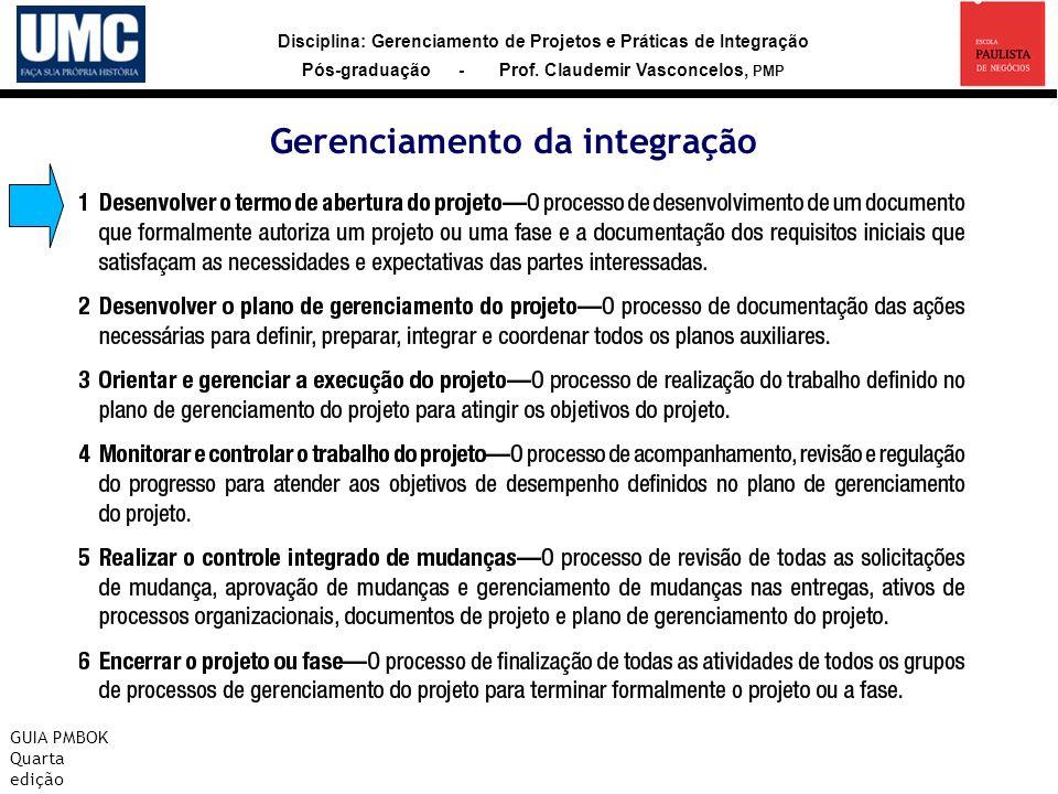 Disciplina: Gerenciamento de Projetos e Práticas de Integração Pós-graduação - Prof. Claudemir Vasconcelos, PMP Gerenciamento da integração GUIA PMBOK
