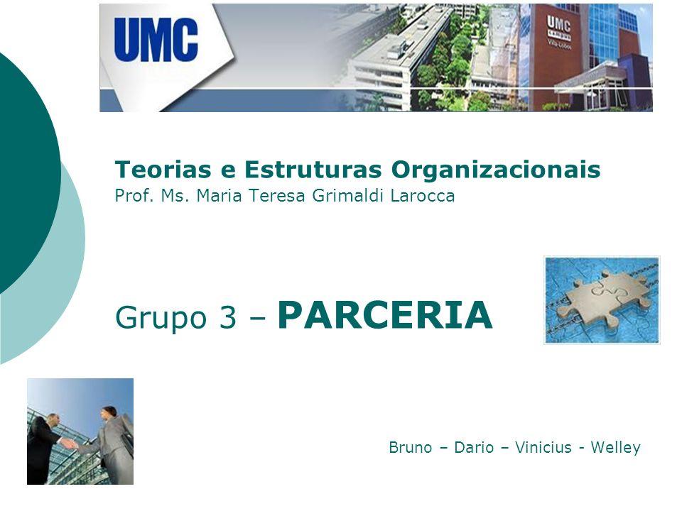 Teorias e Estruturas Organizacionais Prof. Ms. Maria Teresa Grimaldi Larocca Grupo 3 – PARCERIA Bruno – Dario – Vinicius - Welley