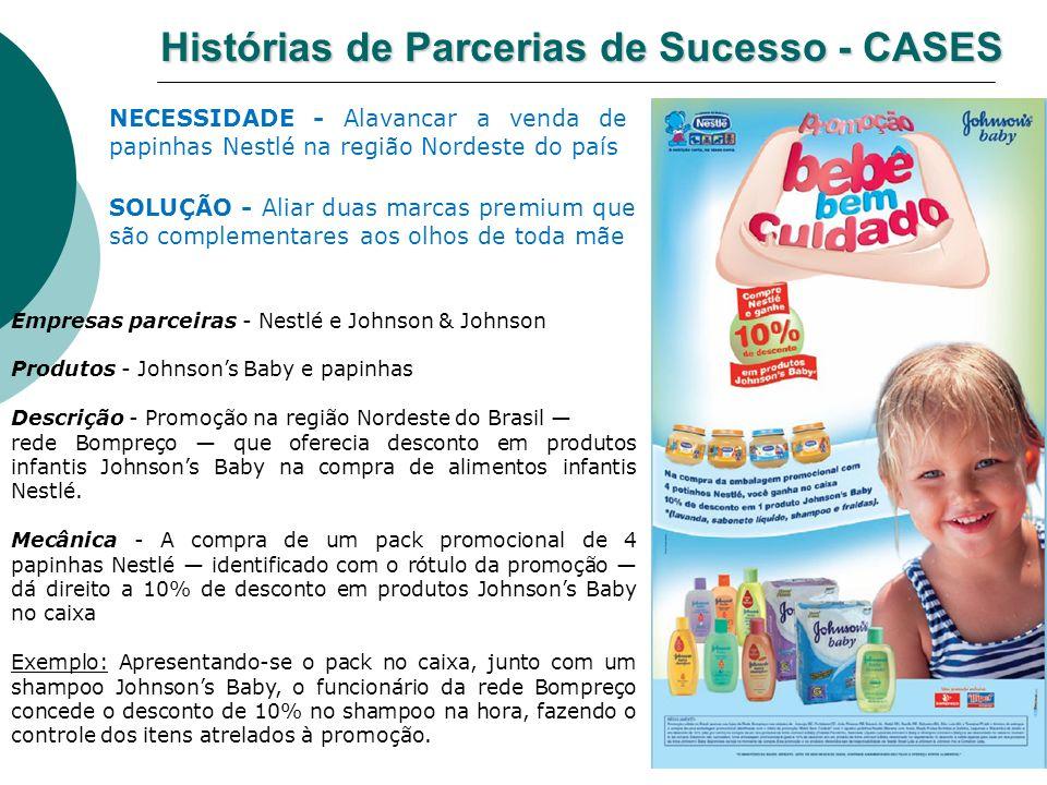 Histórias de Parcerias de Sucesso - CASES Empresas parceiras - Nestlé e Johnson & Johnson Produtos - Johnsons Baby e papinhas Descrição - Promoção na