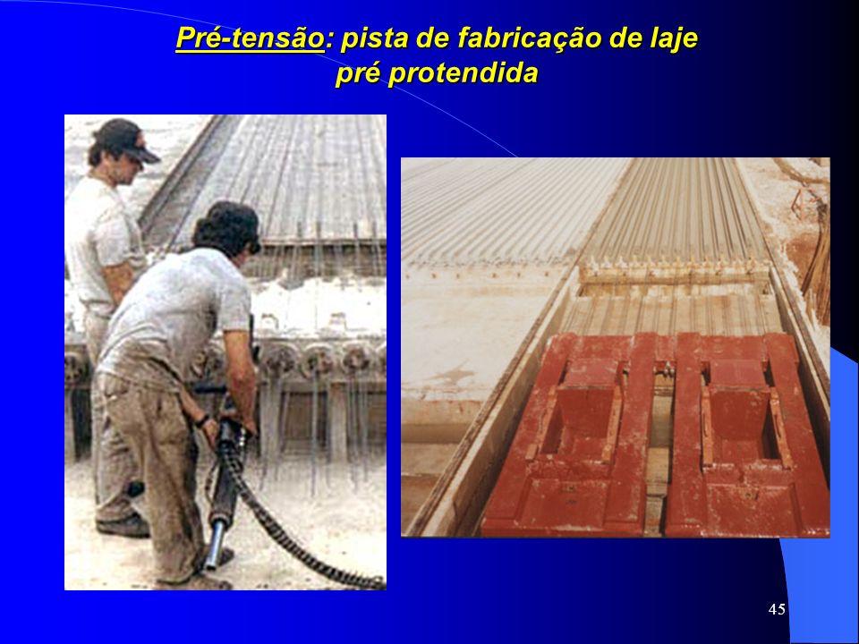 45 Pré-tensão: pista de fabricação de laje pré protendida