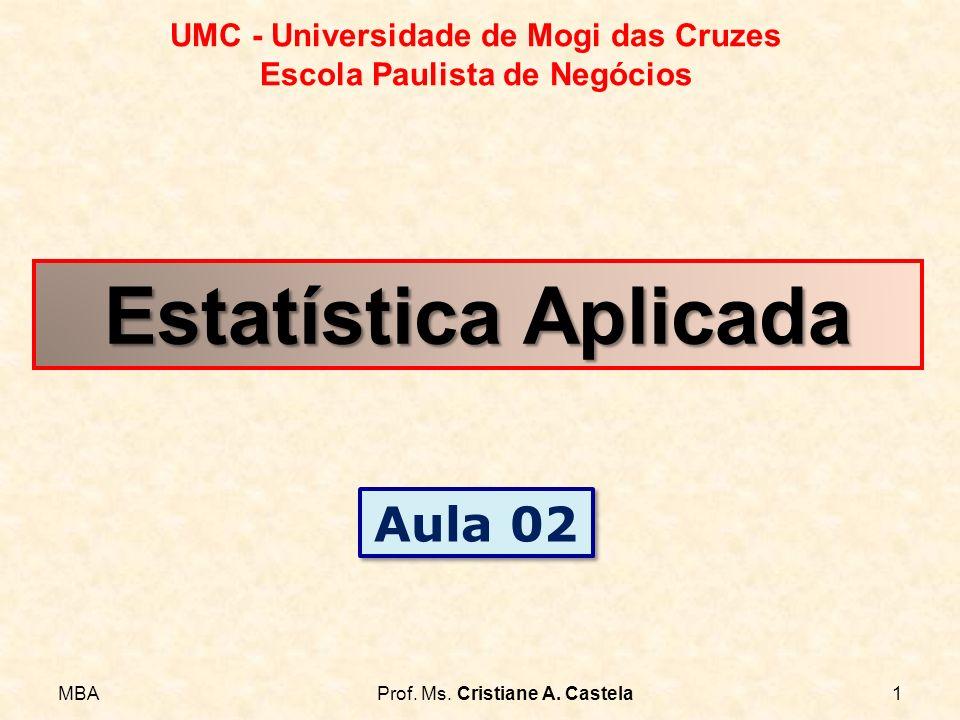 MBAProf. Ms. Cristiane A. Castela1 UMC - Universidade de Mogi das Cruzes Escola Paulista de Negócios Estatística Aplicada Aula 02