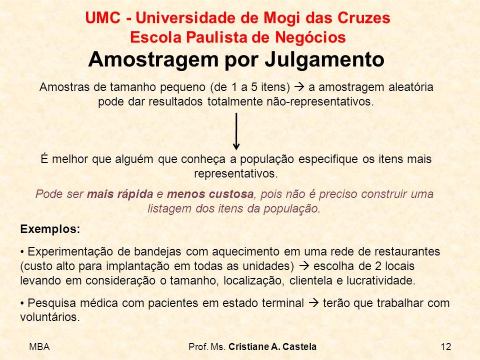 MBAProf. Ms. Cristiane A. Castela12 UMC - Universidade de Mogi das Cruzes Escola Paulista de Negócios Amostragem por Julgamento Amostras de tamanho pe