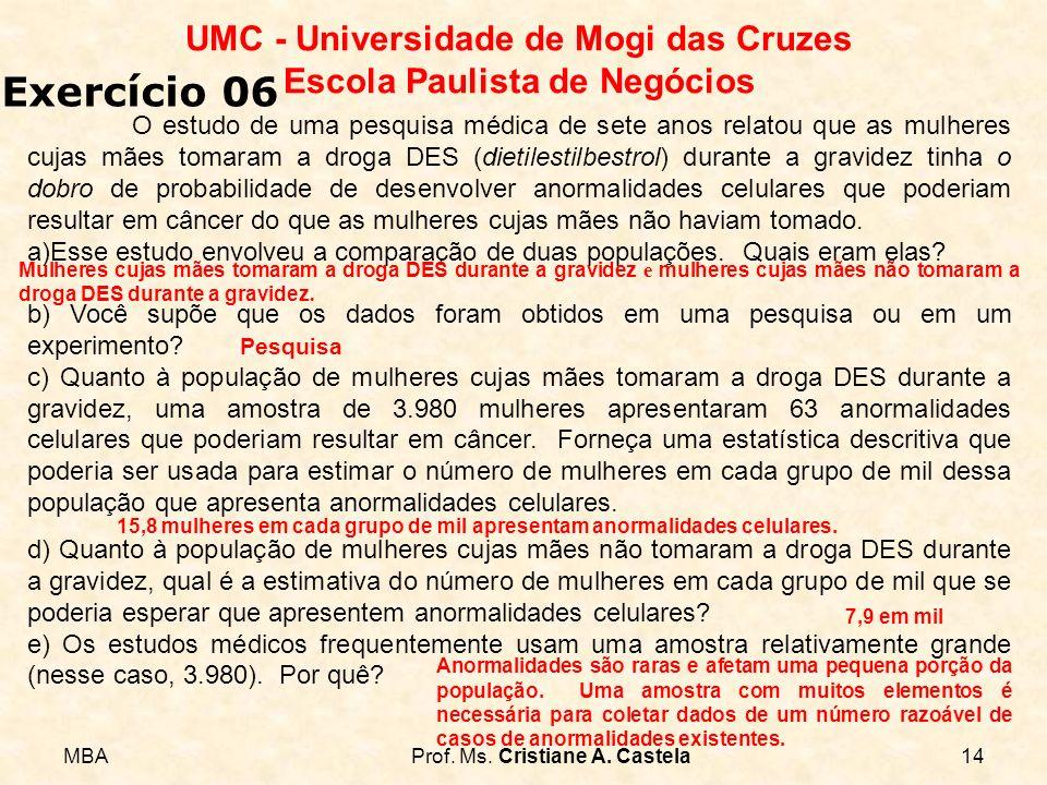 MBAProf. Ms. Cristiane A. Castela14 UMC - Universidade de Mogi das Cruzes Escola Paulista de Negócios Exercício 06 O estudo de uma pesquisa médica de