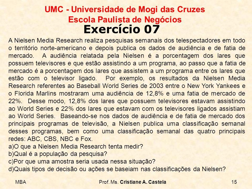 MBAProf. Ms. Cristiane A. Castela15 UMC - Universidade de Mogi das Cruzes Escola Paulista de Negócios Exercício 07 A Nielsen Media Research realiza pe