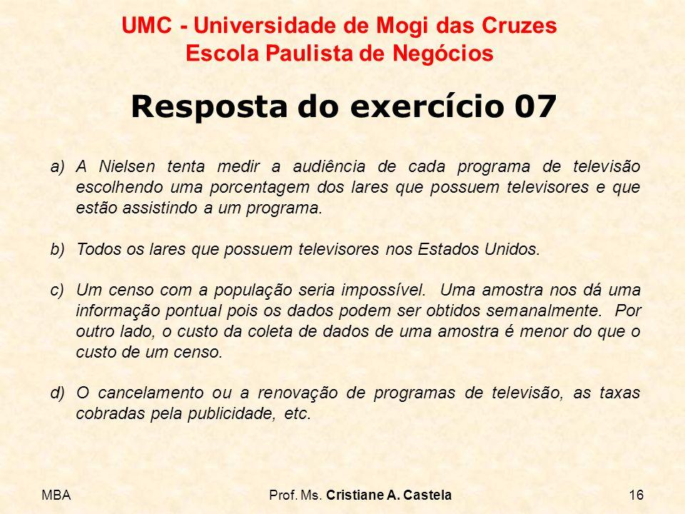 MBAProf. Ms. Cristiane A. Castela16 UMC - Universidade de Mogi das Cruzes Escola Paulista de Negócios a)A Nielsen tenta medir a audiência de cada prog