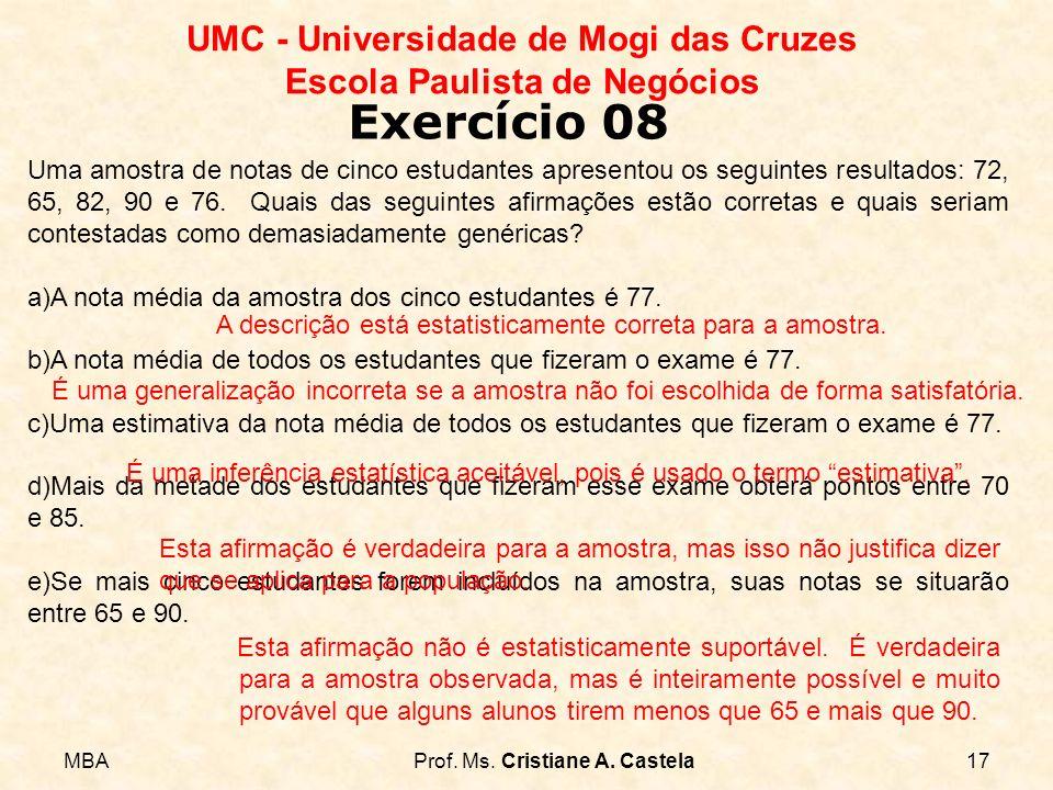 MBAProf. Ms. Cristiane A. Castela17 UMC - Universidade de Mogi das Cruzes Escola Paulista de Negócios Exercício 08 Uma amostra de notas de cinco estud