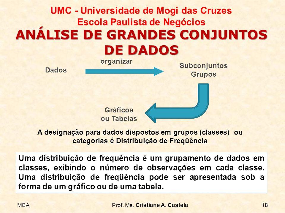 MBAProf. Ms. Cristiane A. Castela18 UMC - Universidade de Mogi das Cruzes Escola Paulista de Negócios ANÁLISE DE GRANDES CONJUNTOS DE DADOS Dados Subc