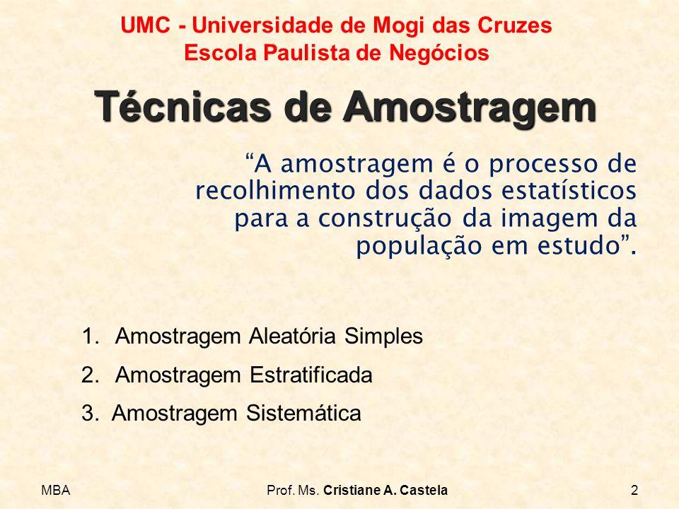 MBAProf. Ms. Cristiane A. Castela2 UMC - Universidade de Mogi das Cruzes Escola Paulista de Negócios A amostragem é o processo de recolhimento dos dad