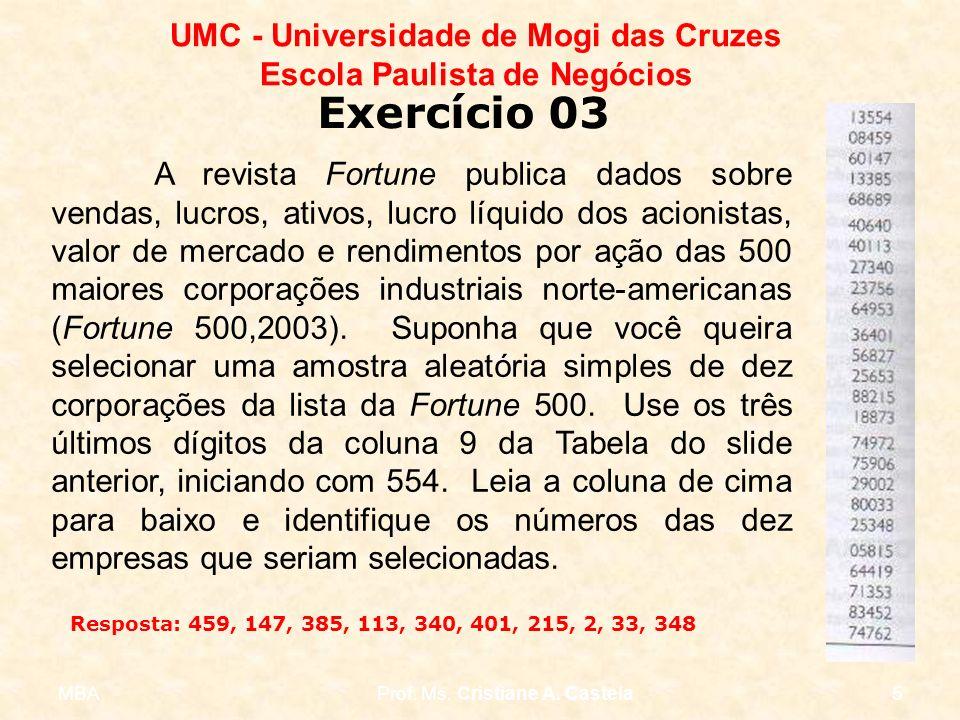 MBAProf. Ms. Cristiane A. Castela5 UMC - Universidade de Mogi das Cruzes Escola Paulista de Negócios A revista Fortune publica dados sobre vendas, luc