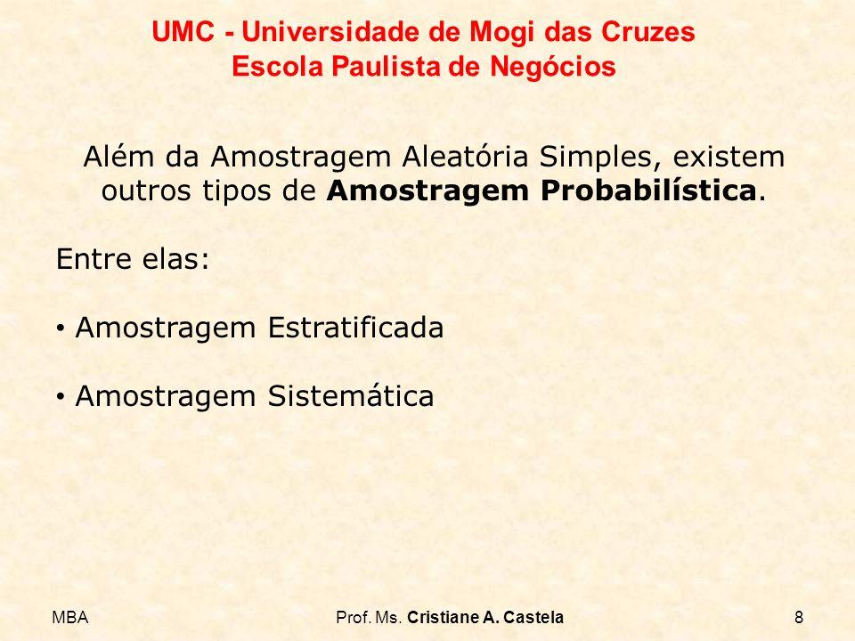 MBAProf. Ms. Cristiane A. Castela8 UMC - Universidade de Mogi das Cruzes Escola Paulista de Negócios Além da Amostragem Aleatória Simples, existem out
