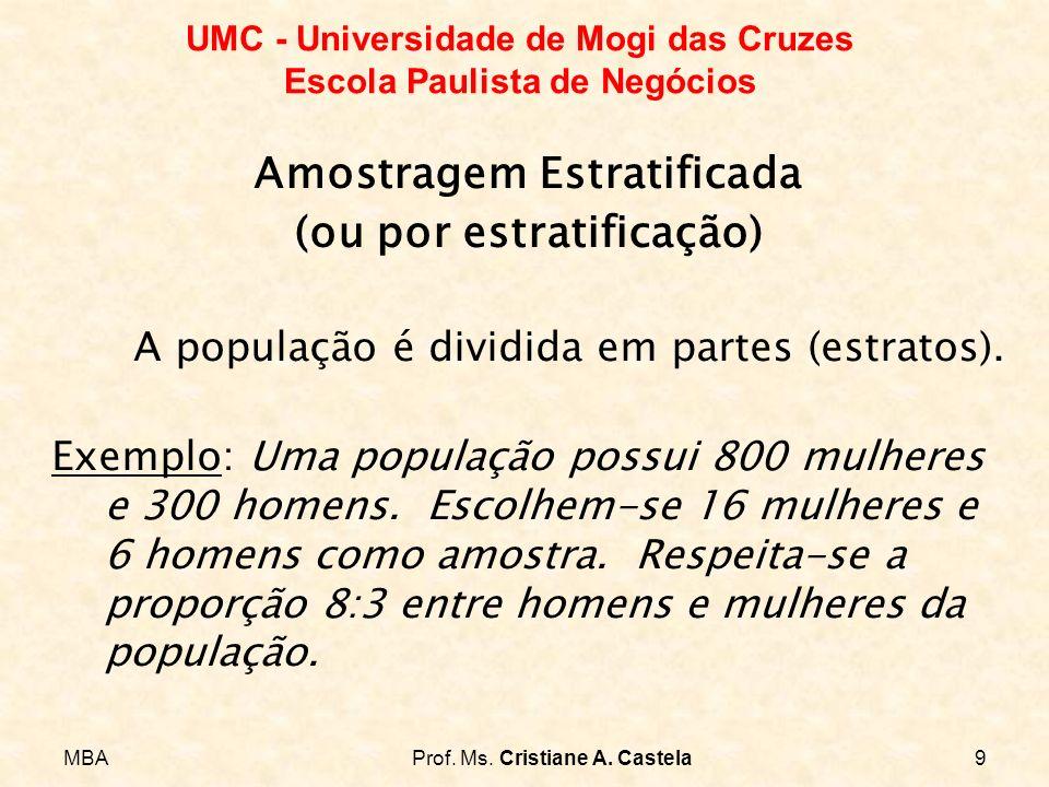 MBAProf. Ms. Cristiane A. Castela9 UMC - Universidade de Mogi das Cruzes Escola Paulista de Negócios Amostragem Estratificada (ou por estratificação)