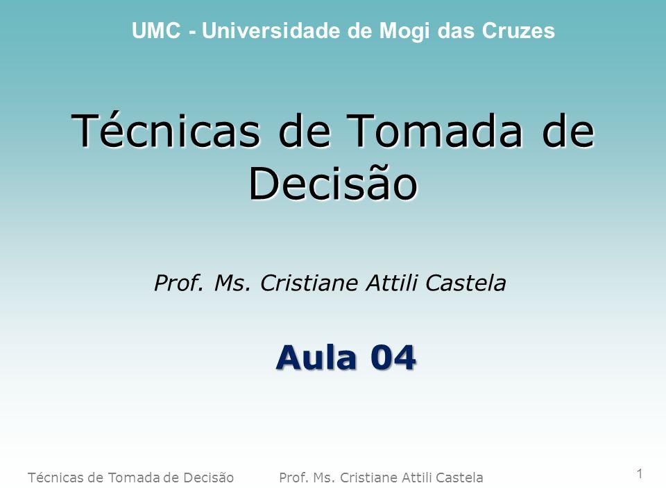 Técnicas de Tomada de Decisão Prof. Ms. Cristiane Attili Castela UMC - Universidade de Mogi das Cruzes 1 Técnicas de Tomada de Decisão Prof. Ms. Crist