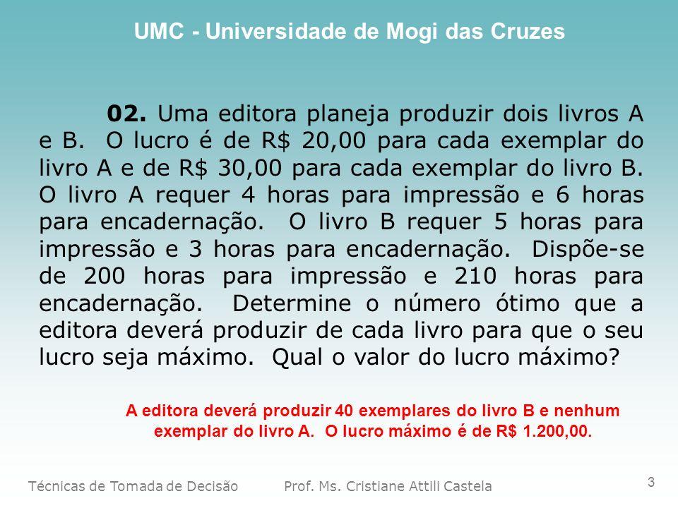 Técnicas de Tomada de Decisão Prof. Ms. Cristiane Attili Castela UMC - Universidade de Mogi das Cruzes 3 02. Uma editora planeja produzir dois livros