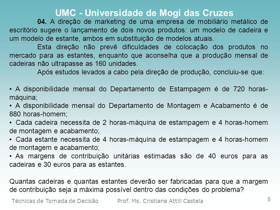 Técnicas de Tomada de Decisão Prof. Ms. Cristiane Attili Castela UMC - Universidade de Mogi das Cruzes 5 04. A direção de marketing de uma empresa de
