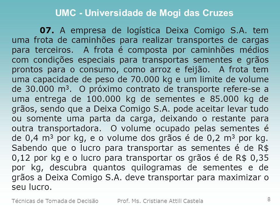 Técnicas de Tomada de Decisão Prof. Ms. Cristiane Attili Castela UMC - Universidade de Mogi das Cruzes 8 07. A empresa de logística Deixa Comigo S.A.