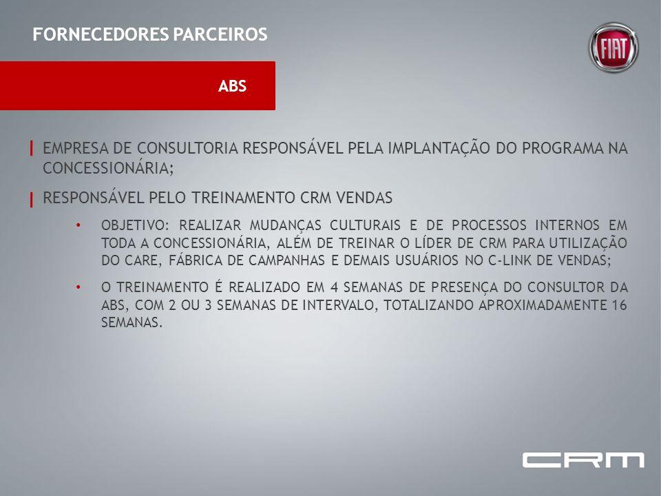 FORNECEDORES PARCEIROS ABS EMPRESA DE CONSULTORIA RESPONSÁVEL PELA IMPLANTAÇÃO DO PROGRAMA NA CONCESSIONÁRIA; RESPONSÁVEL PELO TREINAMENTO CRM VENDAS