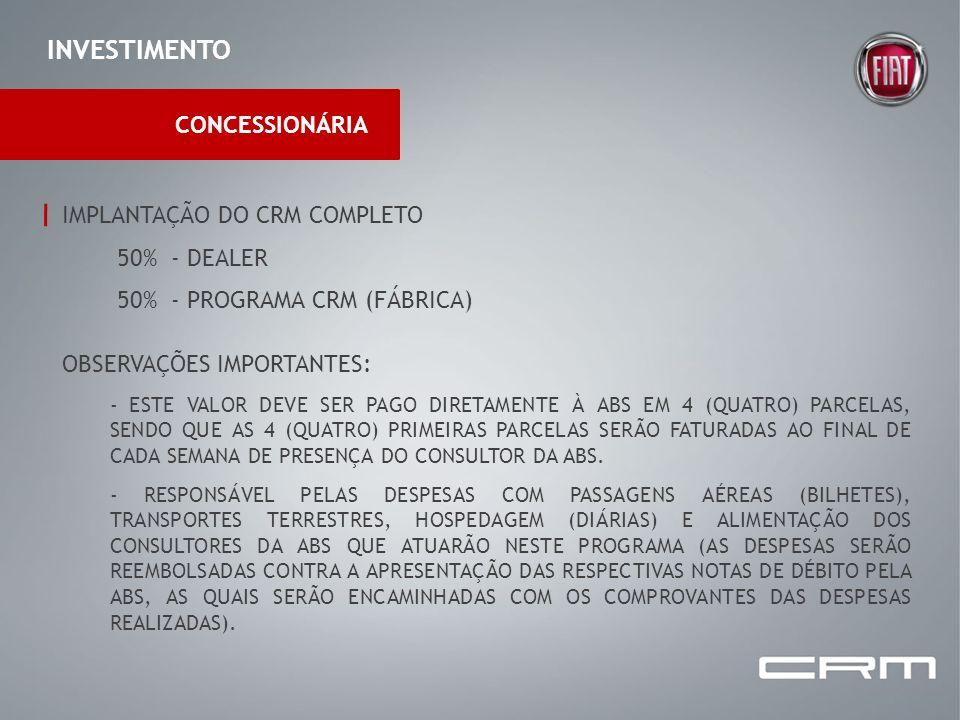 INVESTIMENTO CONCESSIONÁRIA IMPLANTAÇÃO DO CRM COMPLETO 50% - DEALER 50% - PROGRAMA CRM (FÁBRICA) OBSERVAÇÕES IMPORTANTES: - ESTE VALOR DEVE SER PAGO