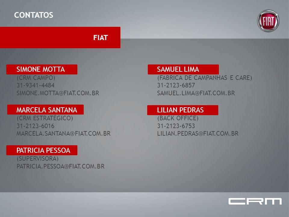 CONTATOS SIMONE MOTTA (CRM CAMPO) 31-9341-4484 SIMONE.MOTTA@FIAT.COM.BR MARCELA SANTANA (CRM ESTRATÉGICO) 31-2123-6016 MARCELA.SANTANA@FIAT.COM.BR PAT