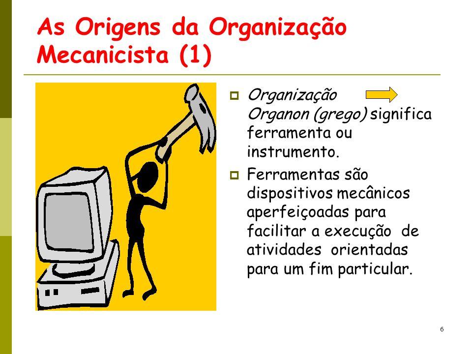 7 As Origens da Organização Mecanicista (2) Durante a Revolução Industrial na Europa e América do Norte os conceitos de Organização se tornam mecanizados.