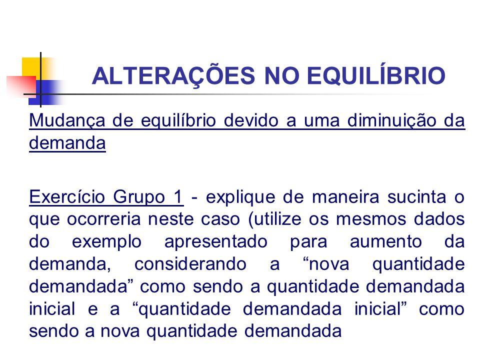 ALTERAÇÕES NO EQUILÍBRIO Mudança de equilíbrio devido a uma diminuição da demanda Exercício Grupo 1 - explique de maneira sucinta o que ocorreria nest