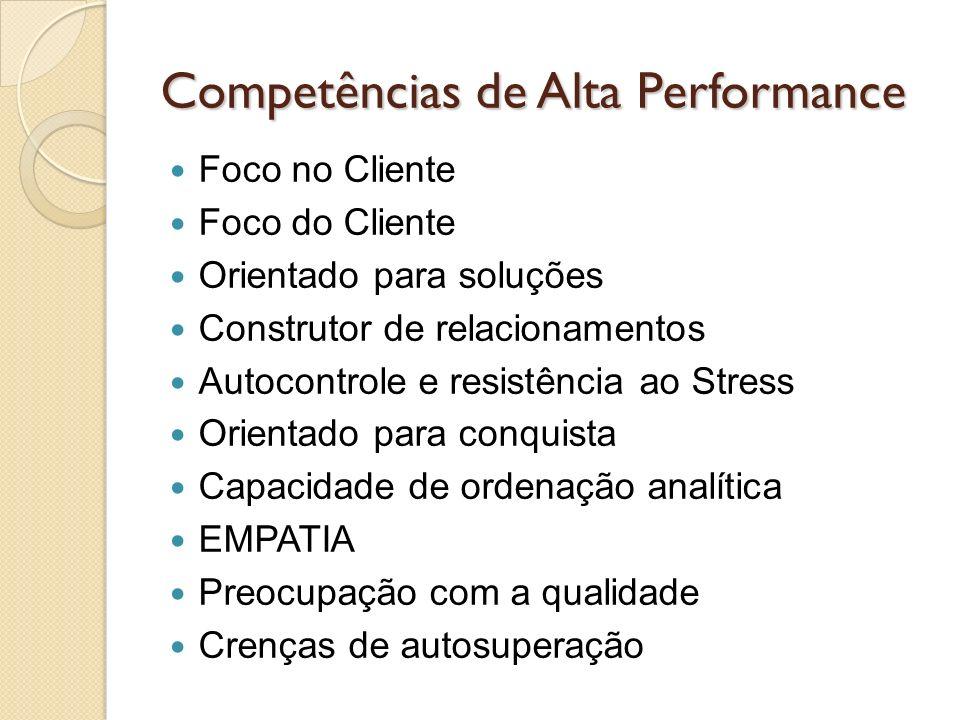 Competências de Alta Performance Foco no Cliente Foco do Cliente Orientado para soluções Construtor de relacionamentos Autocontrole e resistência ao S
