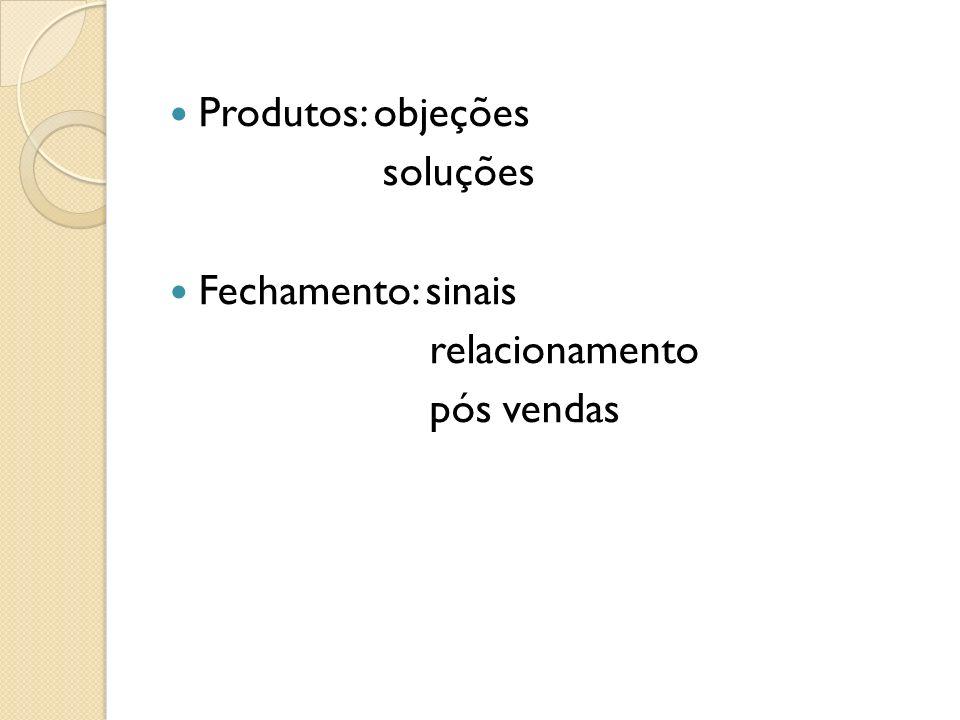 Produtos: objeções soluções Fechamento: sinais relacionamento pós vendas