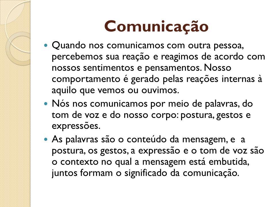 Comunicação Quando nos comunicamos com outra pessoa, percebemos sua reação e reagimos de acordo com nossos sentimentos e pensamentos. Nosso comportame