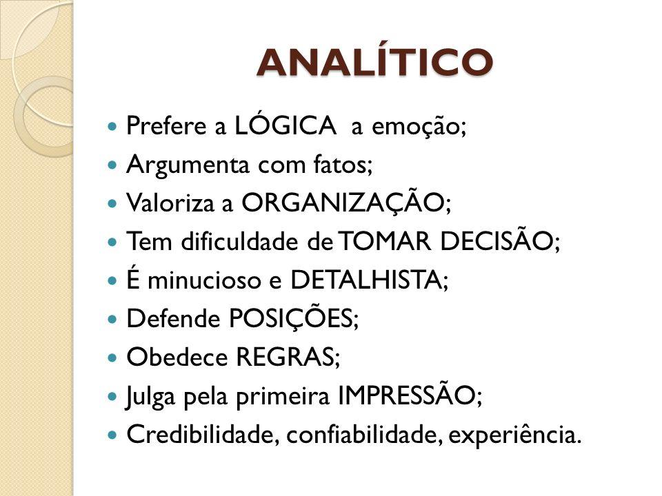 ANALÍTICO Prefere a LÓGICA a emoção; Argumenta com fatos; Valoriza a ORGANIZAÇÃO; Tem dificuldade de TOMAR DECISÃO; É minucioso e DETALHISTA; Defende