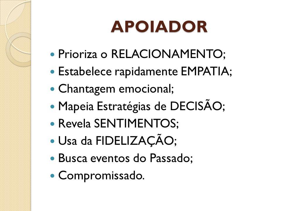 APOIADOR Prioriza o RELACIONAMENTO; Estabelece rapidamente EMPATIA; Chantagem emocional; Mapeia Estratégias de DECISÃO; Revela SENTIMENTOS; Usa da FID