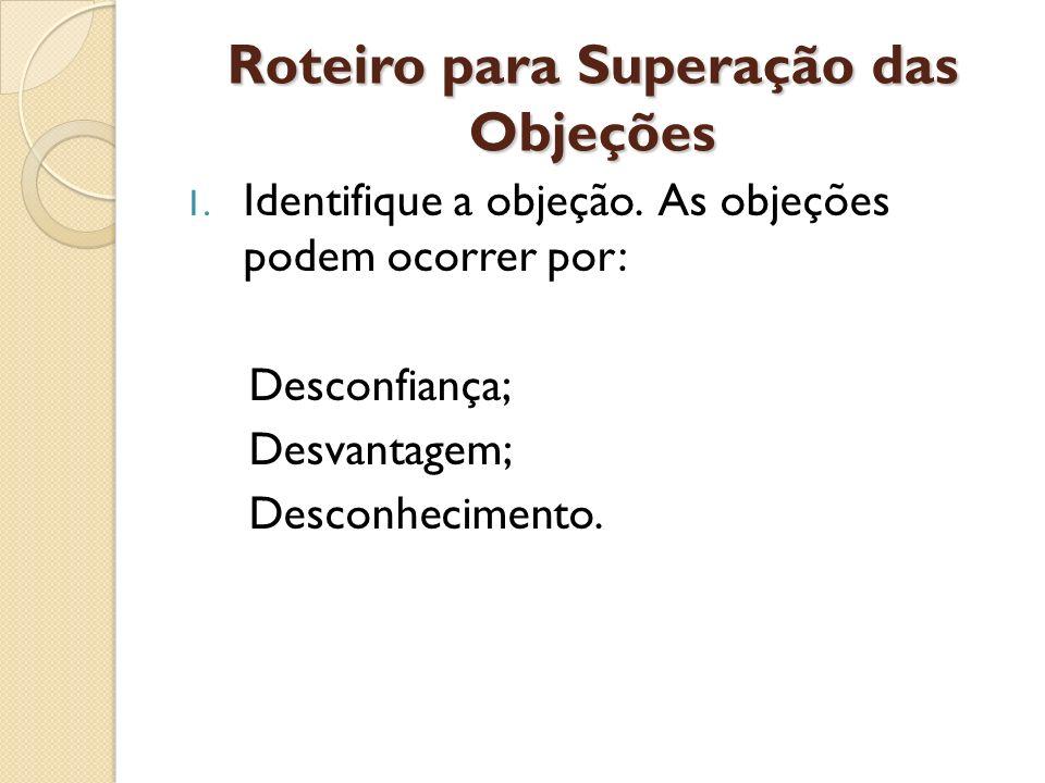 Roteiro para Superação das Objeções 1. Identifique a objeção. As objeções podem ocorrer por: Desconfiança; Desvantagem; Desconhecimento.