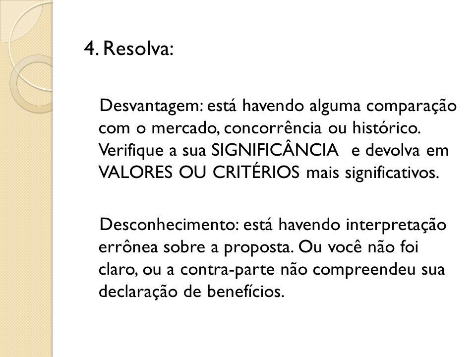 4. Resolva: Desvantagem: está havendo alguma comparação com o mercado, concorrência ou histórico. Verifique a sua SIGNIFICÂNCIA e devolva em VALORES O
