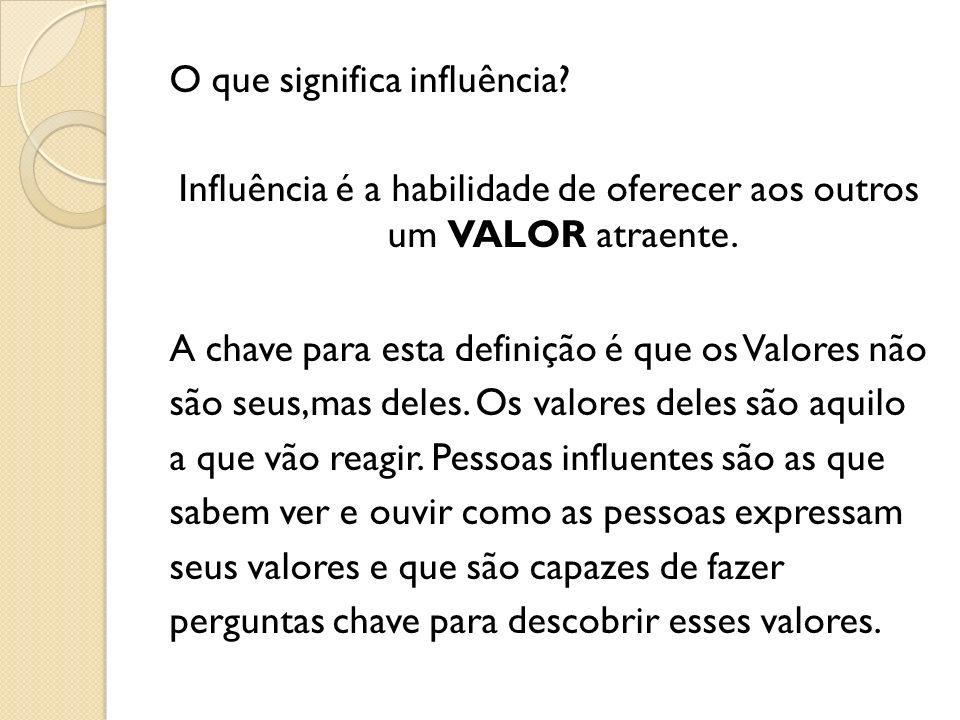 O que significa influência? Influência é a habilidade de oferecer aos outros um VALOR atraente. A chave para esta definição é que os Valores não são s