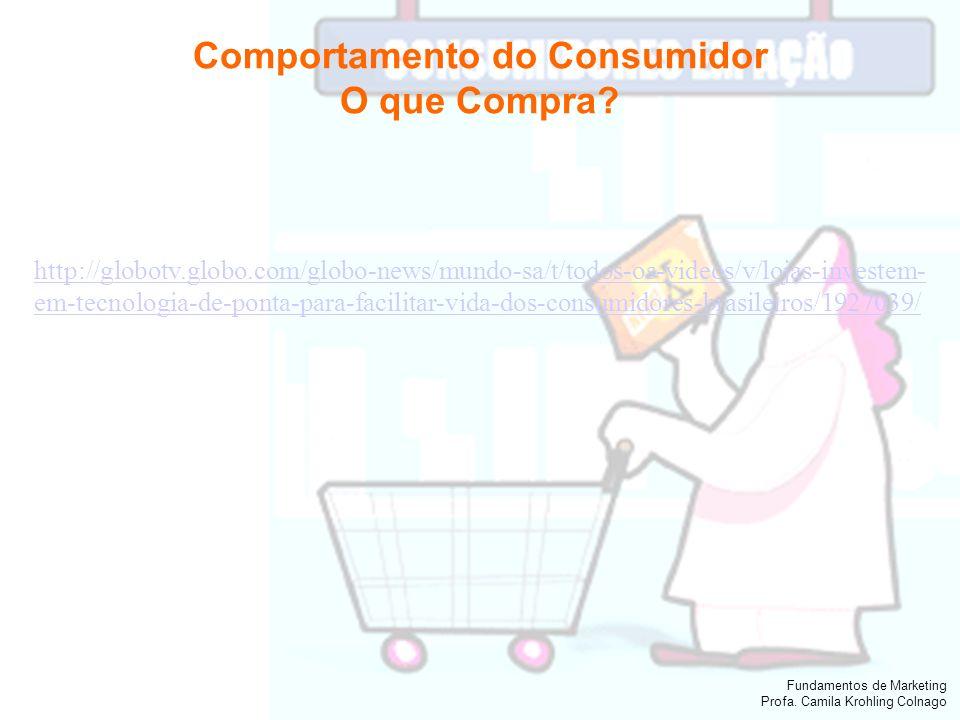 Fundamentos de Marketing Profa. Camila Krohling Colnago Comportamento do Consumidor O que Compra? http://globotv.globo.com/globo-news/mundo-sa/t/todos