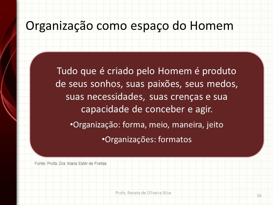Organização como espaço do Homem Profa. Renata de Oliveira Silva 16 Tudo que é criado pelo Homem é produto de seus sonhos, suas paixões, seus medos, s